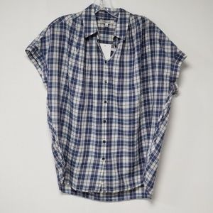 Madewell Plaid Button Down Short Sleeve Dolman Top